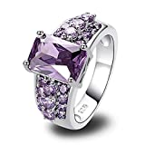Psiroy Women's 925 Sterling Silver 5cttw Amethyst Filled Ring