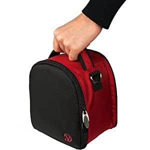 RED Slim Compact Protective Travel Digital Camera Carrying Case with Accessory Compartment For Nikon Coolpix L810 / P510 / S9100 Digital SLR DSLR Camera