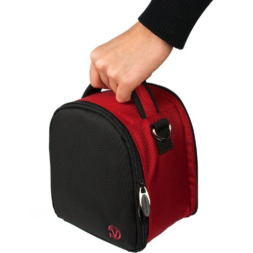 Red Slim Holster Camera Bag Carrying Case will easily hold your camera, battery charger, memory cards, and accessories For Olympus E-5 SP-600UZ SP-610UZ SP-800UZ SP-810UZ SZ-30MR XZ-1 PEN E-P2 PEN E-P3 PEN E-PL1 PEN E-PL2 PEN E-PL3 PEN E-PM1 PEN Lite E-PL1s SZ-10 SZ-11 SZ-20 Point and Shoot Digital Camera + Includes eBigValue Determination Hand Strap Key Chain