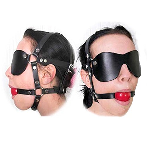 Zlvo Harness Leather Mask with Mouth Ball Gag Slave BDSM Fetish Eyes Bondage