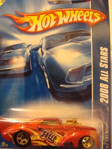 Hot Wheels '41 Willys Burnt Orange, Flamz, 5 Spoke - Gold Chrome end & Block 1/64 #61 2008 - 1