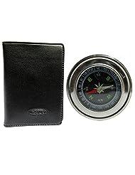 Apki Needs Fashionable Black Men's Wallet & Beautiful Compass Combo - B01AC91HRI
