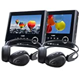 Coby TF-DVD7051D Twin 7 inch player wireless headphone packby Coby