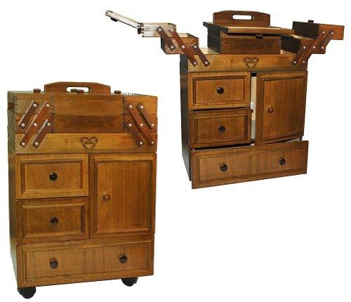 Nhschrank-XXL-gro-auf-Rollen-mit-3-Schubladen-9-Fcher-aus-Holz-dunkel-Holznhkorb-fahrbar-Nhschranke-Nhkorb-Schrank-als-Nhkasten-Nhkstchen-leer-Holznhschrank