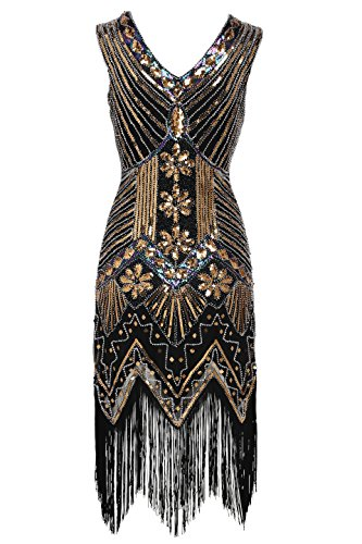 Babeyond Women's Flapper Dresses 1920s V Neck Beaded Fringed Great Gatsby Dress (Small, Gold)