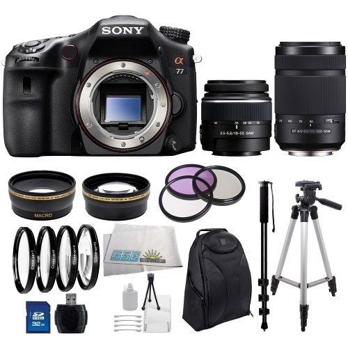 Sony Slt-A77 24.3 Mp Digital Slr With Translucent Mirror Technology Includes Sony 18-55Mm F/3.5-5.6 Dt Standard Zoom & Sony 55-200Mm F/4.0-5.6 Dt Lens, .43X Wide Angle & 2.2X Telephoto Lenses, 3 Piece Multi-Coated Filter Kit(Uv-Cpl-Fld), 4 Piece Close Up