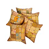 Rajrang Cotton Old Dress Patchwork Vintage Cushion Cover Set Of 5 Pcs