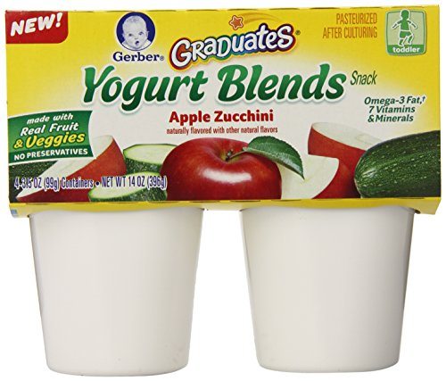 Gerber Graduates Yogurt Blends Snack, Apple Zucchini, 4 Count (Pack of 6)