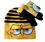 SPONGEBOB SQUAREPANTS - Face Black Stripes - Kids Beanie Hat + Matching Gloves