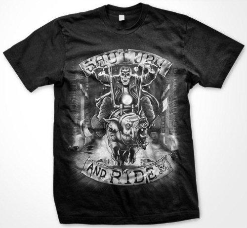 Shut Up And Ride Mens T-shirt, Skeleton Chopper Liquid Blue Oversized Design Mens Shirt, Large, Royal
