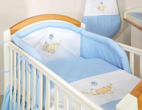 Blue sleepy teddy 6 pieces bedding set Cot bed (70cm x 140cm)