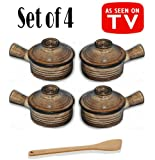 Set of 4 Stone Wave Microwave Cooker with Chefwing Wood Kitchen Tool (4, Set of 4 with Spatula)