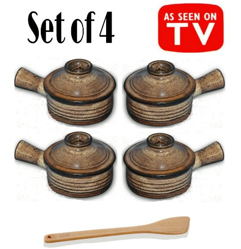 Set of 4 Stone Wave Microwave Cooker with Chefwing Wood Kitchen Tool (4, Set of 4 with Spatula) (Stone Egg Cooker compare prices)