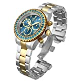 Invicta Pro Diver Unisex Swiss Quartz Movement Watch with Blue Dial Chronograph Display and Stainless Steel Gold Plated Bracelet 14448