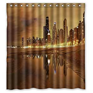 Unique And Generic Chicago Skyline Shower Curtain Custom Printed Waterproof Fabric Polyester