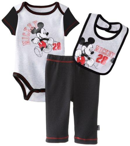 Disney Babys Newborn Mickey Creeper Pant Bib Layette, Grey, 3-6 Months front-971631