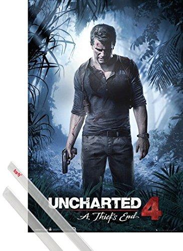 Poster + Sospensione : Uncharted Poster Stampa (91x61 cm) 4, A Thiefs End e Coppia di barre porta poster trasparente 1art1®