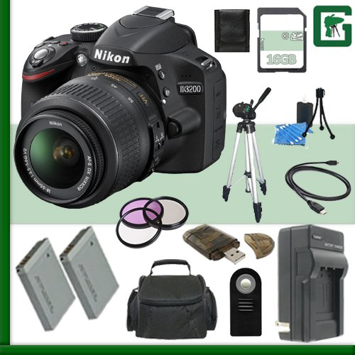 Nikon D3200 CMOS DSLR Camera with 18-55mm VR Lens Green's Camera Bundle