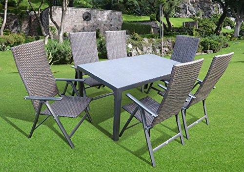 7-teilige Luxus Aluminium Polyrattan Spraystone Gartenmöbelgruppe