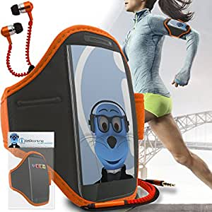 Orange Black Adjustable Sports GYM Jogging Running ArmBand Case Cover with 3.5mm Zip Style Headphones For Samsung Galaxy C9 Pro 2016
