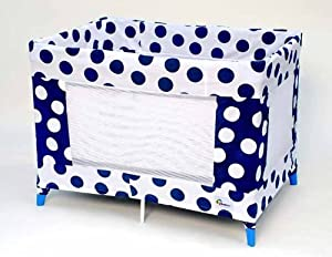 Coverplay Play Yard Slipcover - Blue w/ white dots