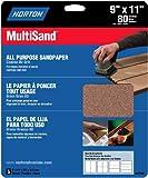 Norton 47740 Multisand Sandpaper 80 Grit, 9-Inch x 11-Inch, 5-Pack