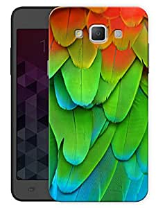 "Humor Gang Colorful Bird Feathers Printed Designer Mobile Back Cover For ""Samsung Galaxy E7"" (3D, Matte, Premium Quality Snap On Case)"