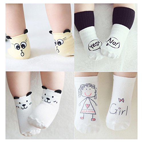 Cuca Dunna Infant Socks Baby Socks Toddler Socks For Girls And Boys,Anti Skid Socks 4 Pairs (S 0-2years, Girl)
