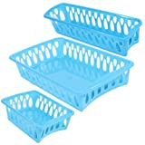 Set of 3 Mini Plastic Organizer Baskets in Assorted Shapes (TURQUOISE)