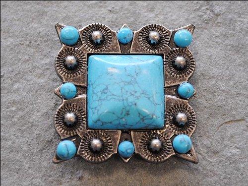 Set Of 4 Turquoise Square Rhinestone Concho Bling Headstall Tack Saddle Belt