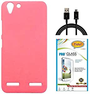 Tidel Ultra Thin and Stylish Rubberized Back Cover for Lenovo Vibe K5 Plus (PINK) With Tidel 2.5D Curved Tempered Glass & Data Cable