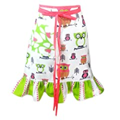 Hoot Hoot Hooray Pansy Half Apron in Pink Lime Black