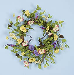 Foreside Home and Garden Pansy Wreath, 20-Inch