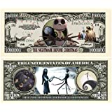 Nightmare Before Christmas Million Dollar Bill in Collector Grade Currency Holder