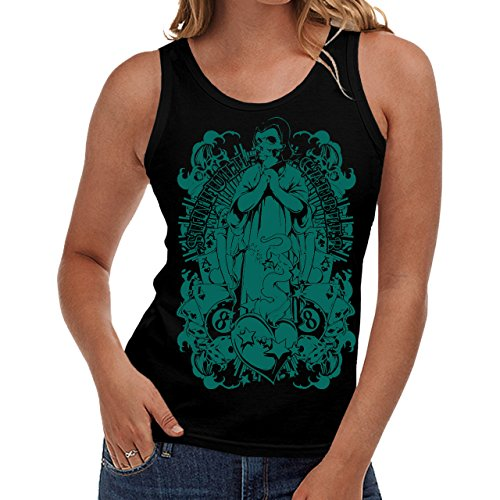 Wellcoda | Gambler Monster Ghost Skull Womens NEW Tank Top Black S-2XL