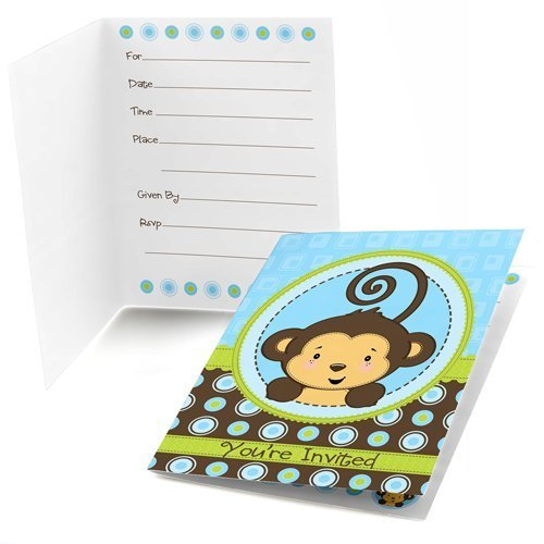 Monkey Boy Fill-in Party Invitations (8 count)