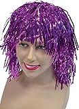 Ladies Fancy Dress Fiesta de animadora corto espumillón falsos & Artificial Peluca UK