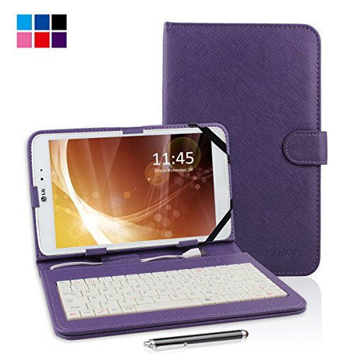 """Kamor® 9"""" Pu Leather Stand Case + Micro Usb Keyboard With Touch Screen Stylus Pen For 9 Inch Android Tablet Pc + Micro Female To Mini Male Adapter (Purple)"""