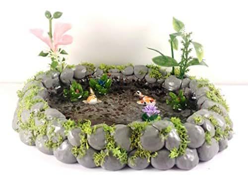 Fairy garden miniature koi fish pond lily for Garden pond amazon