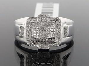 Designer Hip Hop Men's Ring 10k White Gold with 0.65ct Diamonds R-5216AW