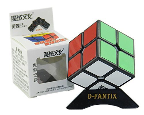 D-FantiX Moyu Lingpo 2x2 Speed Cube Puzzle Smooth Magic Cube (50mm) Black with Extra Cube Stand