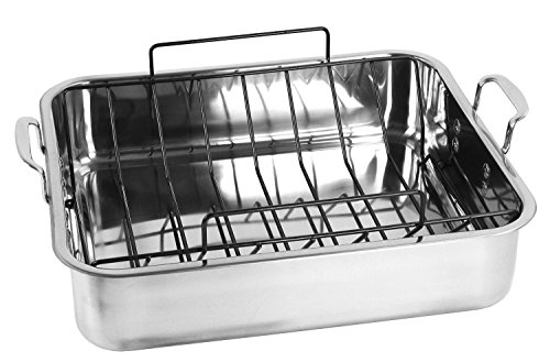 Oneida 18/10 Stainless Steel 15.7-inch 13.5-inch Roaster with Non-Stick U-rack