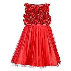 Western Look Styliest Modern Red Rose Flower Dress - 4-5 Years