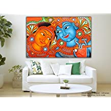 JunkYard Canvas Painting - Radha Krishna - Kerala Mural Canvas Art