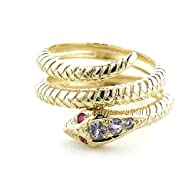 14K Gold (Choice of Yellow or Rose Gold) Coiled Snake Ring set with Tanzanite & Ruby with Snake…
