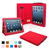 Snugg iPad 4 & iPad 3 Case - PU Leather Case Cover and Flip Stand with Elastic Hand Strap and Premium Nubuck Fibre Interior (Red) - Automatically Wakes and Puts the iPad 4 & 3 to Sleep. Superior Quality Design as Featured in GQ Magazine