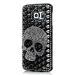 Samsung Galaxy Note 5 Case, Sense-TE Luxurious Crystal 3D Handmade Sparkle Glitter Diamond Rhinestone Ultra-Thin Clear Cover with Retro Bowknot Anti Dust Plug - Punk Skull / Black