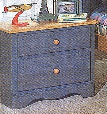 Cheap Denim Blue & Oak Finish Wood Kids Bedroom Nightstand (VF_HEB15-4)