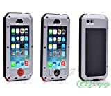 Newest Extreme Shockproof Waterproof Dust/Dirt Proof Aluminum Metal Gorilla Glass Military Heavy Duty Protection Cover case for Apple iPhone 5 5S 5G Home Key for Fingerprint @XYG (9-silver/black/red)