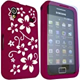 ONX3 Samsung Galaxy Ace S5830 Purple Floral Silicone Case Skin Cover + LCD Screen Protector Guard